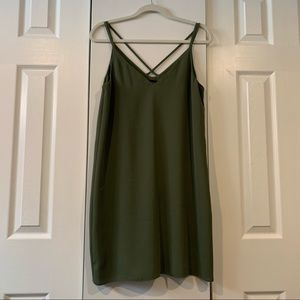 Military Green Flowy TopShop Dress